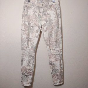 7 For All Mankind Floral Distressed Skinny Jean 26